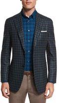 Brioni Check Two-Button Cashmere-Blend Sport Coat, Aqua/Charcoal