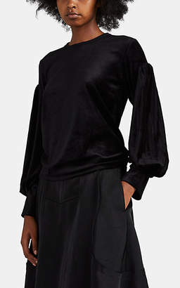 Comme des Garcons Women's Velour Layered-Sleeve Top - Black