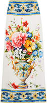 Dolce & Gabbana Floral-print Stretch-silk Midi Skirt - Blue