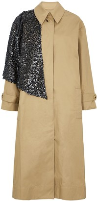 Walk of Shame Camel cape-effect twill trench coat