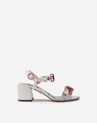 Dolce & Gabbana Patent Leather Sandals With Stone Embroidery