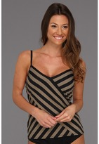 DKNY Chic Stripes Spliced Tankini w/ Removable Soft Cups (Antique) - Apparel