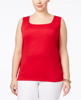 Karen Scott Plus Size Cotton Square-Neck Tank Top, Only at Macy's