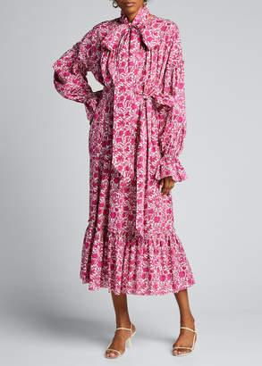 The Vampire's Wife Floral-Print Long-Sleeve Midi Dress