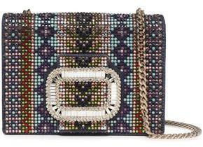 Roger Vivier Pilgrim Micro Crystal-embellished Denim Shoulder Bag