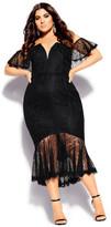 City Chic Lace Violet Dress - black