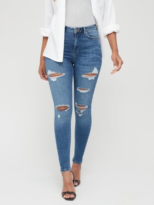Very Ella High Waist Open Rips Skinny Jeans - Mid Wash