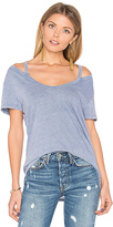 Pam & Gela Split V Neck Tee in Blue. - size XS (also in )