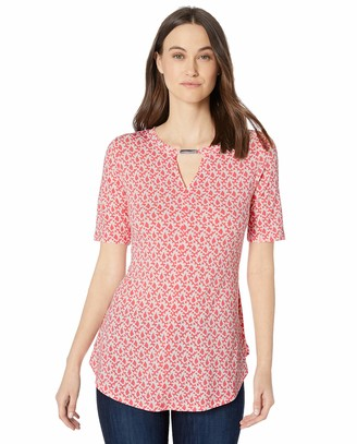Chaus Women's S/S Leaf Woodblock Top w/Neck Bar