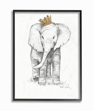 """Stupell Industries Elephant Royalty Graphite Drawing Framed Giclee Art, 11"""" x 14"""""""
