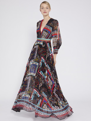 Alice + Olivia Cheney Slit Sleeve Maxi Dress