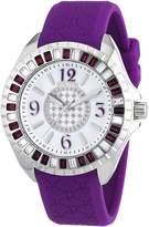 Police Women's PL-13090JS/28D Jade Crystal Bezel Black Rubber Watch