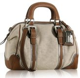 beige canvas leather trim top handle bag