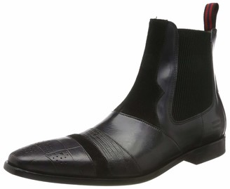 MELVIN & HAMILTON MH HAND MADE SHOES OF CLASS Men's Elvis 12 Classic Boots Guana Suede Pattini Crust Turtle Elastic Ribs Lining-Rich Tan-Insole Leather-LSL Nails Skull-Black 6.5 UK