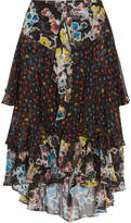 Jason Wu Ruffled Floral-print Silk-chiffon Midi Skirt - Black