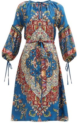 D'Ascoli Taraz Belted Floral-print Silk Dress - Blue Multi
