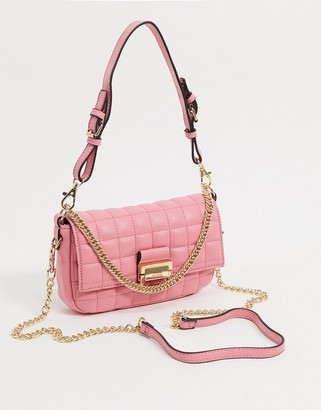 Aldo Oleosa padded chain strap shoulder bag in pink
