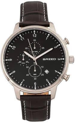 Breed Quartz Holden Chronograph Silver And Black Genuine Leather Watches 45mm