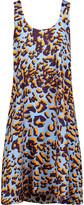 MSGM Pleated leopard-print silk-satin twill mini dress