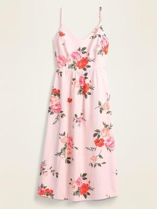 Old Navy Floral Linen-Blend Fit & Flare Midi Sundress for Women