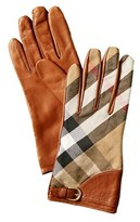 Burberry Kat House Check & Leather Gloves.