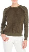 Carolina Herrera Suede & Cashmere Raglan Sweater