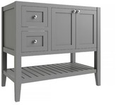 """CNC Costume National Cabinetry Vanguard 36"""" Left Drawer Single Bathroom Vanity Base Only Cabinetry Base Finish: Dove Gray"""