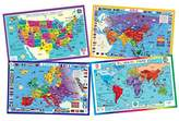 Educational Kids Placemats - Geography set of 4 Maps: USA