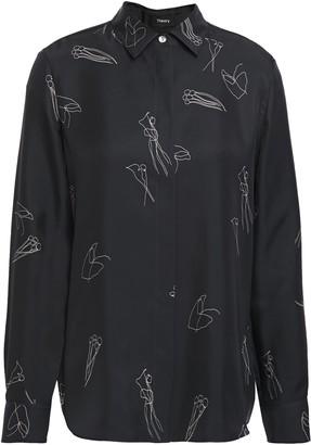 Theory Printed Silk-twill Shirt