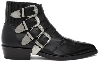 Toga Virilis Black Four Buckle Western Boots