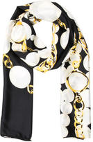 Kenneth Jay Lane Silk Chain-Link Printed Scarf