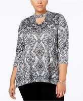 Style&Co. Style & Co Plus Size Printed Choker Top, Created for Macy's