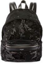 Saint Laurent Mini City Paillette-Embroidered Backpack, Black