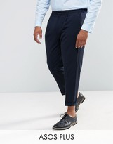 Asos Plus Skinny Tapered Suit Trousers In Navy