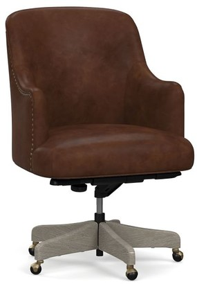 Pottery Barn Reeves Leather Swivel Desk Chair