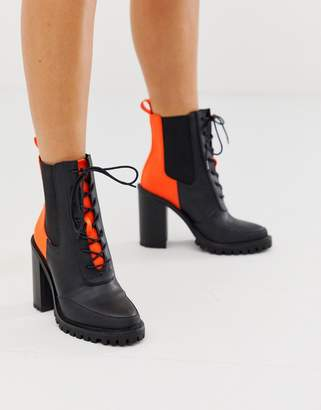 Asos Design DESIGN Ellen chunky lace up boots in neon-Multi
