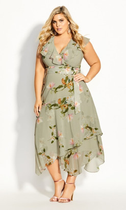 City Chic Splendour Floral Maxi Dress - sage