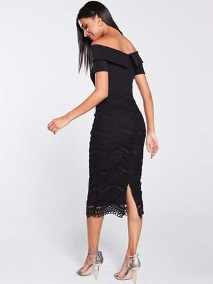 Very Bardot Scuba Lace Pencil Dress - Black