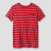 Cat & Jack Boys' Textured Stripe Pocket T-Shirt Cat & Jack - Red/Blue