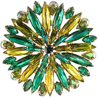 One Kings Lane Vintage 1950s Emerald & Citrine Crystal Brooch - Neil Zevnik