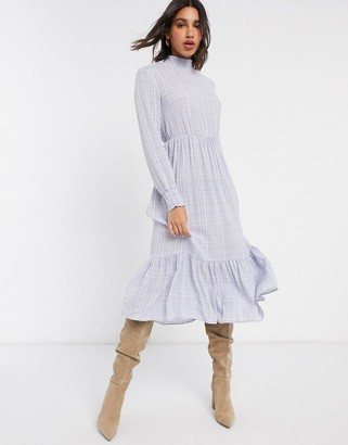 Vila midi dress with high neck in blue check