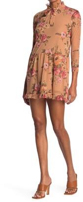 Velvet Torch Floral Tie Mock Neck Mesh Mini Dress