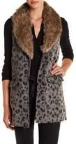Jolt Faux Fur Collar Leopard Print Vest (Juniors)