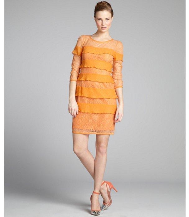 BCBGMAXAZRIA tangerine stretch lace 'Francesca' chiffon tiered dress