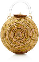 Khokho Ball Leather-Trimmed Straw Top Handle Bag