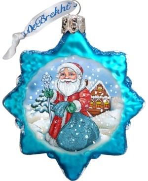 G Debrekht G.DeBrekht Santa with Blue Bag Glass Ornament