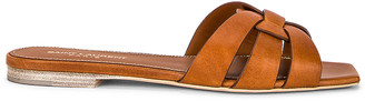 Saint Laurent Leather Croc Nu Pieds Slide Sandals in Amber | FWRD