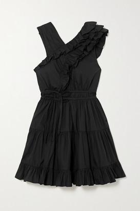 Ulla Johnson Iliana Tiered Ruffled Cotton-poplin Mini Dress - Black