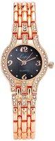Lvpai Women's Bracelet Wrist Watch Waterproof Round Crystal Face Black Dial P033-1