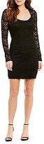 Jump Glitter Lace Long Illusion Sleeve Open Keyhole Back Sheath Dress